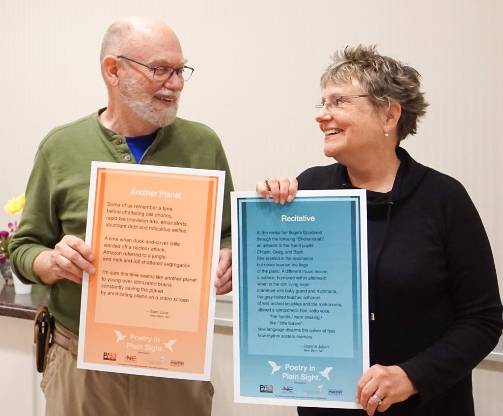 Sam and Jean with Poetry in Plain Sight Posters