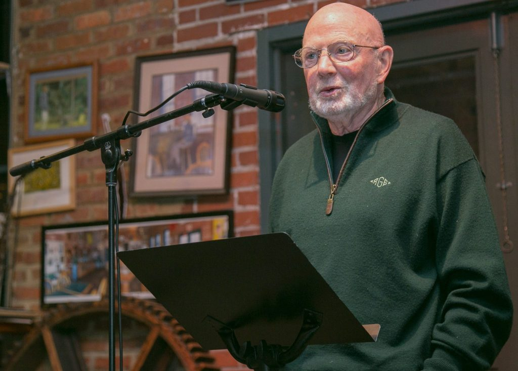 Bob Golden reading poetry at open mic